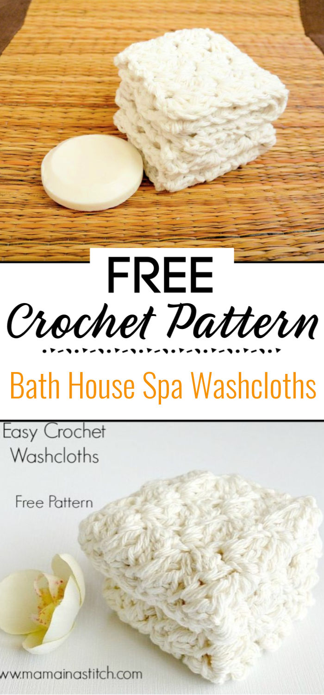 6.Bath House Spa Crochet Washcloths Free Pattern 1