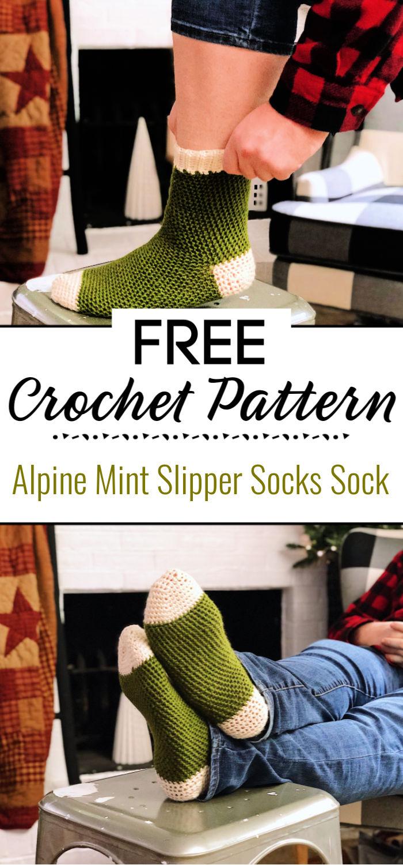 Alpine Mint Slipper Socks Free Crochet Sock Pattern