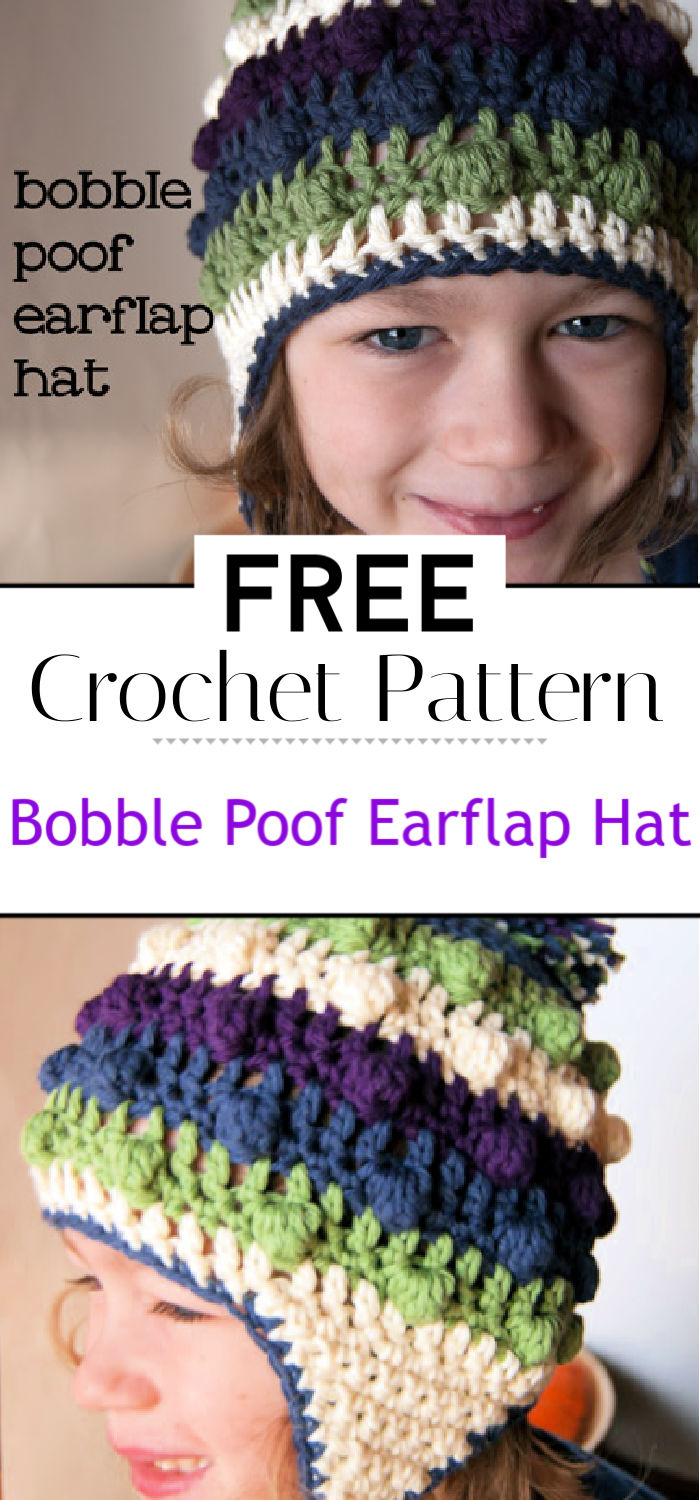 Bobble Poof Crochet Earflap Hat