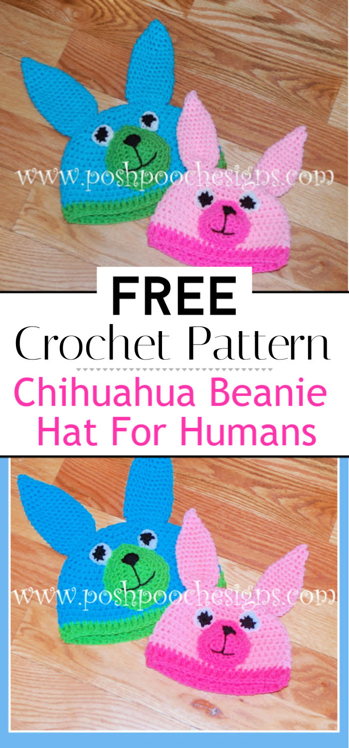 Chihuahua Beanie Hat Crochet Pattern For Humans
