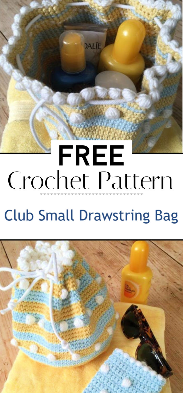 Crochet Club Small Drawstring Bag