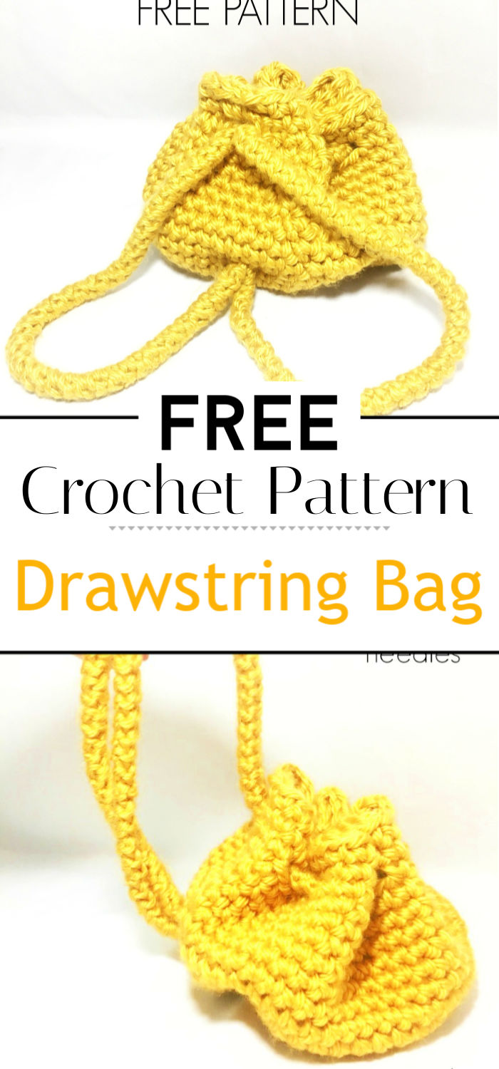 Crochet Drawstring Bag With Free Pattern