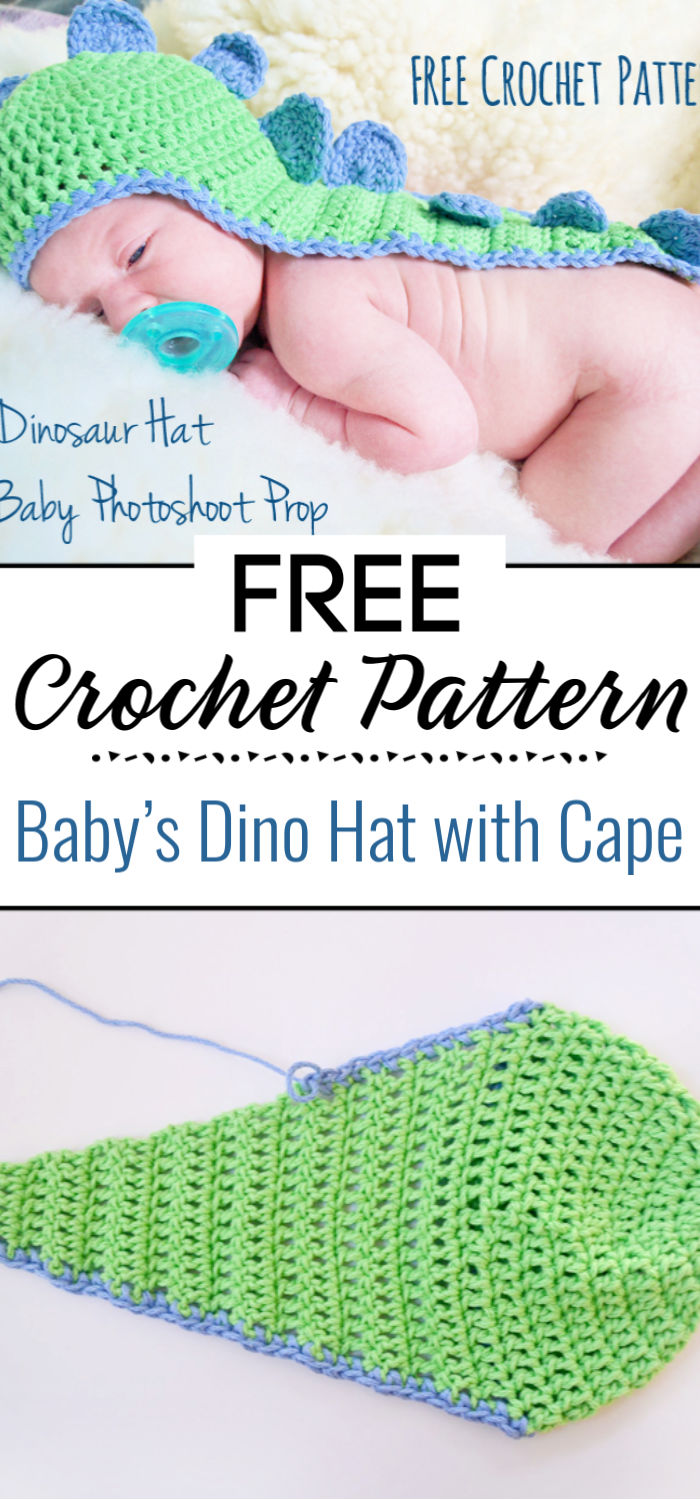 Crochet Pattern Baby's Dino Hat with Cape