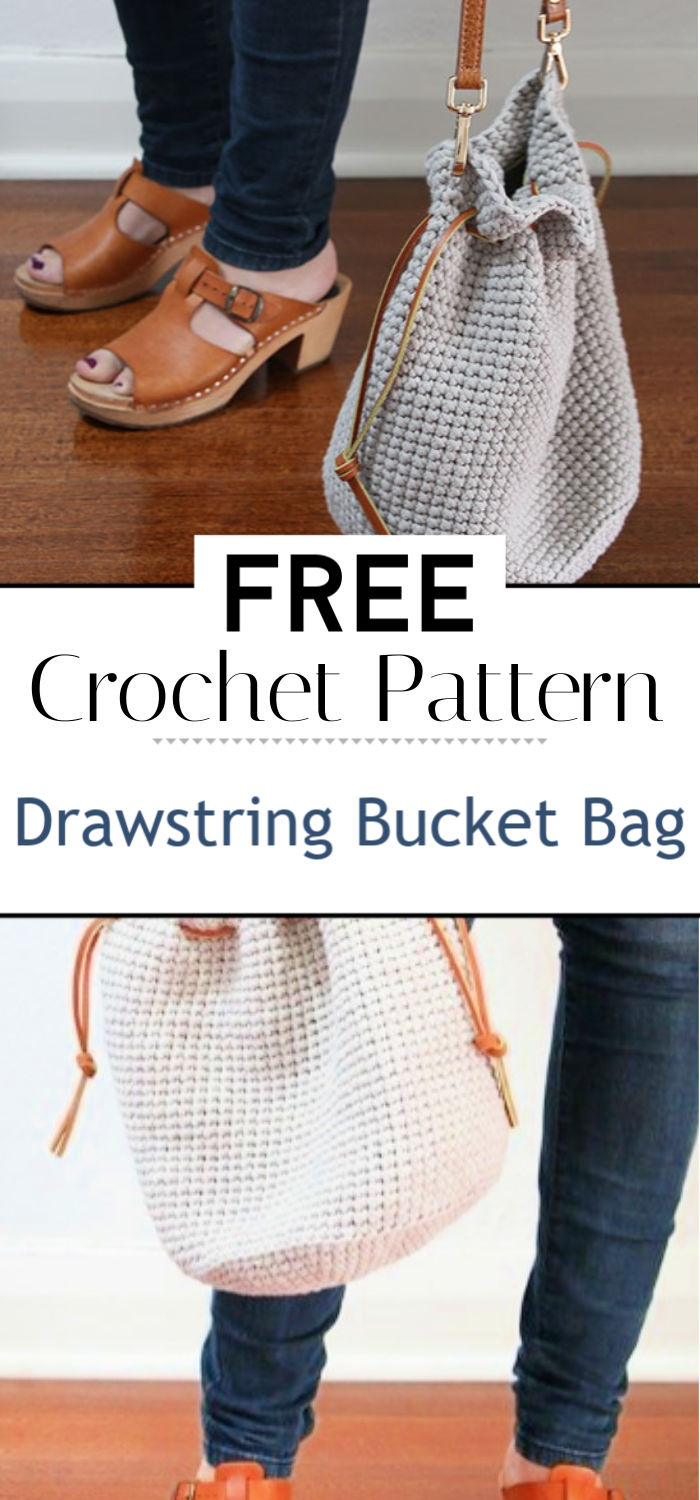 Crochet Pattern Drawstring Bucket Bag