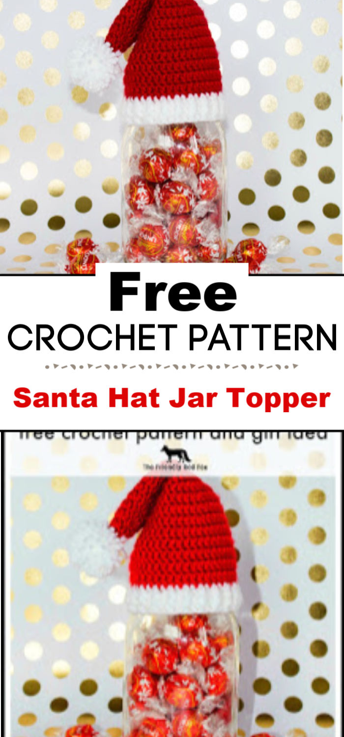 Crochet Santa Hat Jar Topper