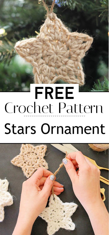 Crochet Stars Free Ornament Pattern