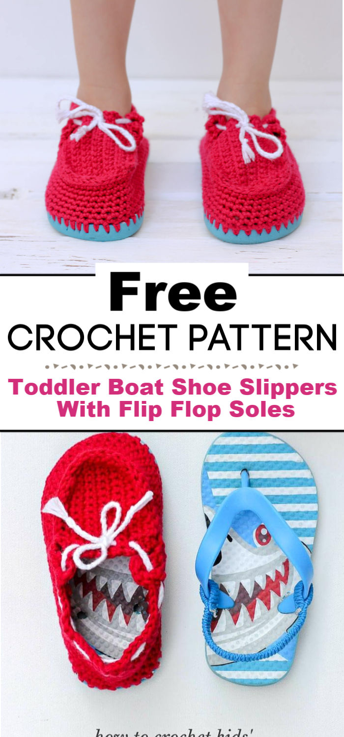 Crochet Toddler Boat Shoe Slippers With Flip Flop Soles Free Pattern