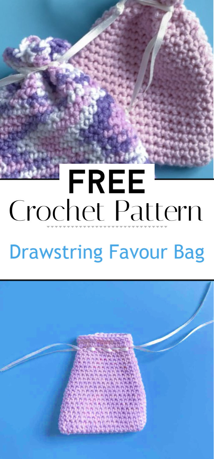 Drawstring Favour Bag Free Crochet Pattern Tutorial