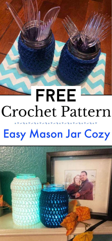 Easy Crochet Mason Jar Cozy Free Pattern