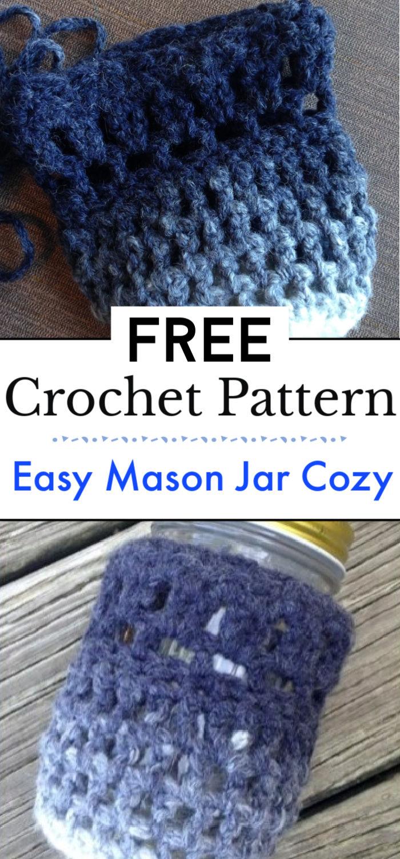 Easy Crochet Mason Jar Cozy Pattern