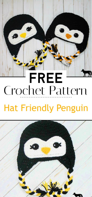 Free Crochet Hat Friendly Penguin