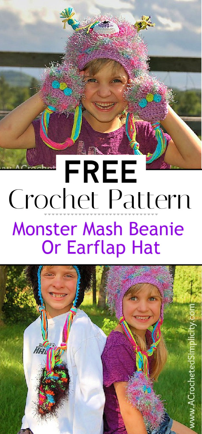 Free Crochet Pattern Monster Mash Beanie Or Earflap Hat