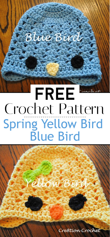 Free Spring Crochet Patterns Yellow Bird Blue Bird