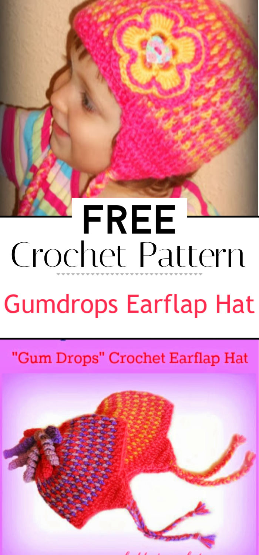 Gumdrops Earflap Hat Free Crochet Pattern