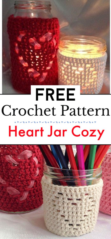 Heart Jar Cozy Free Ccochet Pattern