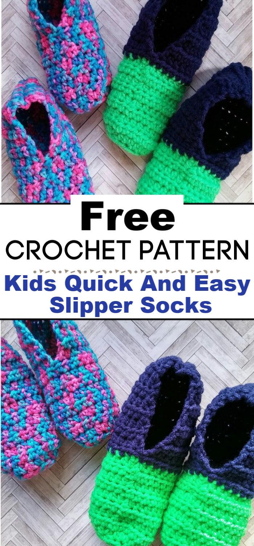 Kids Quick And Easy Slipper Socks Free Crochet Pattern