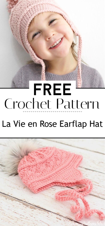 La Vie en Rose Earflap Hat Crochet Pattern