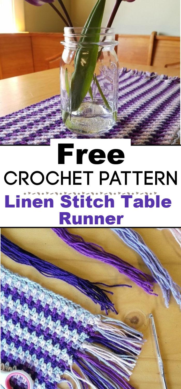 Linen Stitch Crochet Table Runner Free Pattern