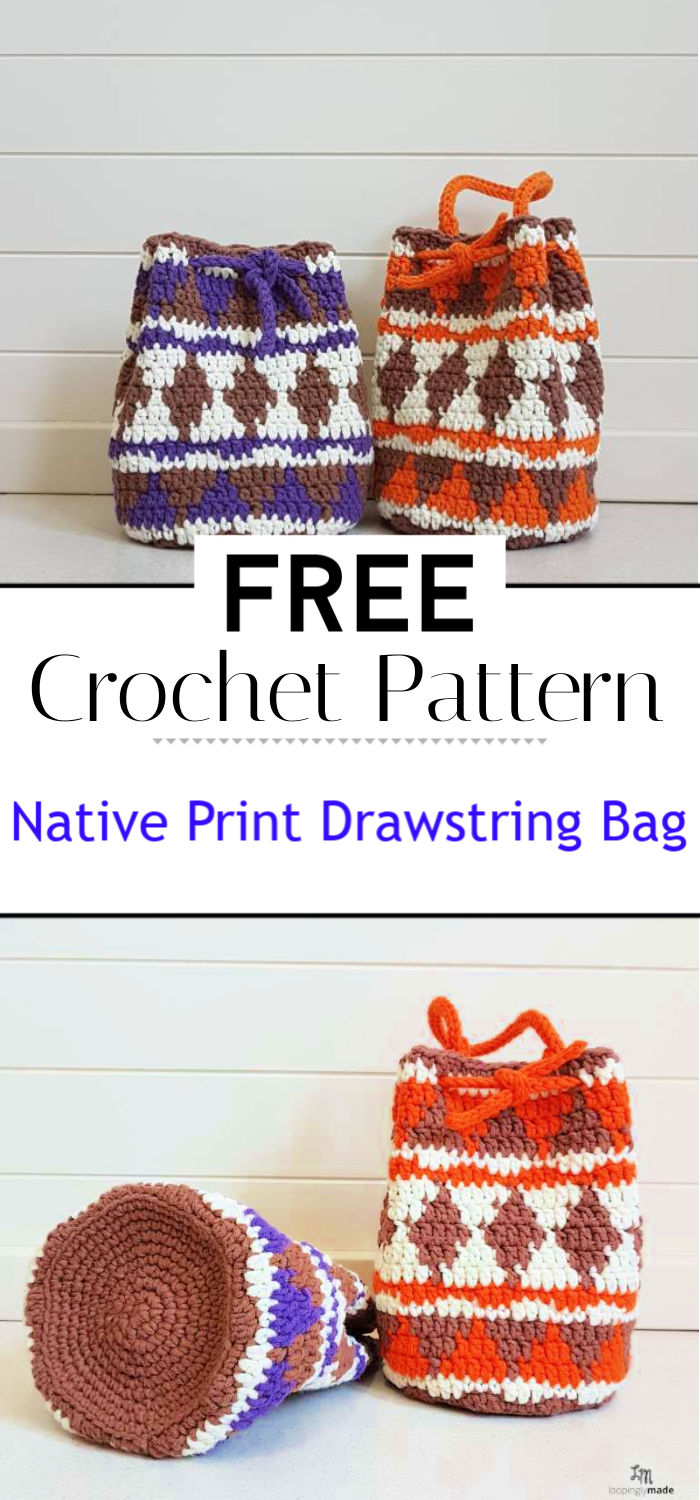 Native Print Drawstring Bag Free Crochet Pattern