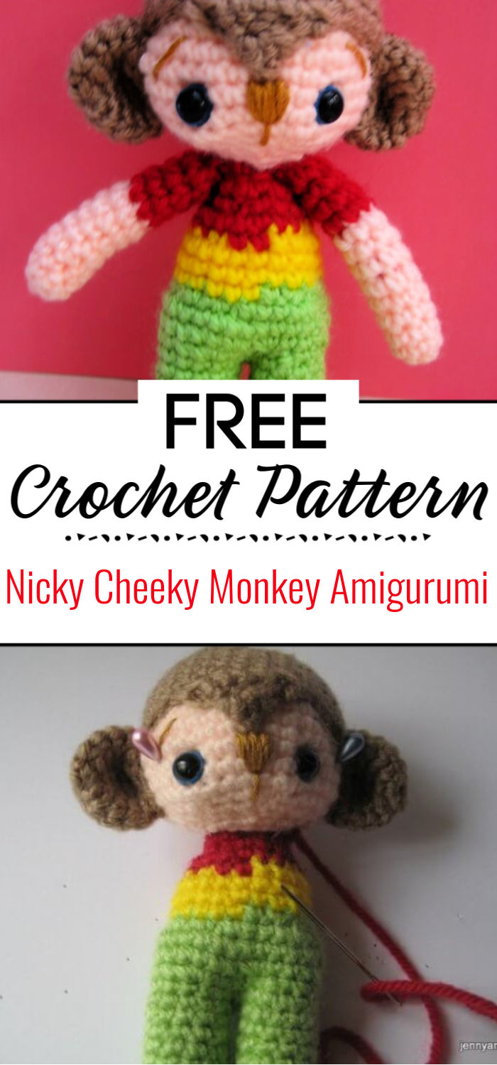 Nicky Cheeky Monkey Amigurumi Free Crochet Pattern