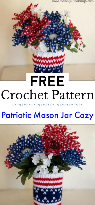 Patriotic Mason Jar Cozy Free Pattern