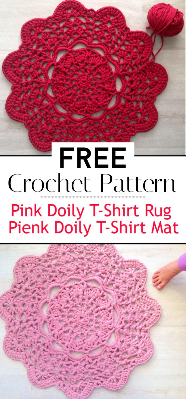 Pink Doily T Shirt Rug Pienk Doily T Shirt Mat