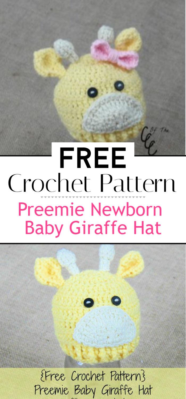 Preemie Newborn Baby Giraffe Hat Crochet Pattern