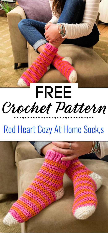 Red Heart Cozy At Home Crochet Socks