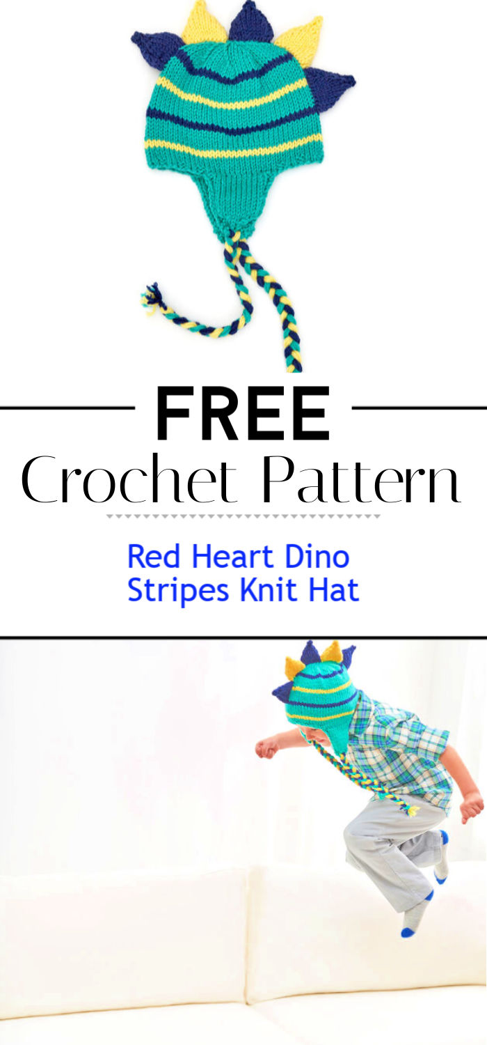 Red Heart Dino Stripes Knit Hat