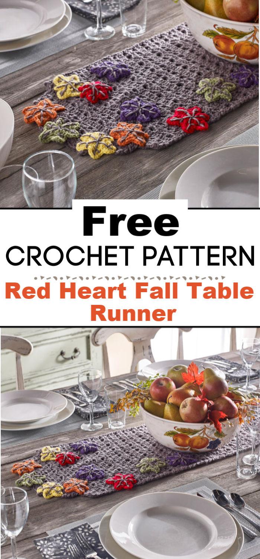 Red Heart Fall Table Runner