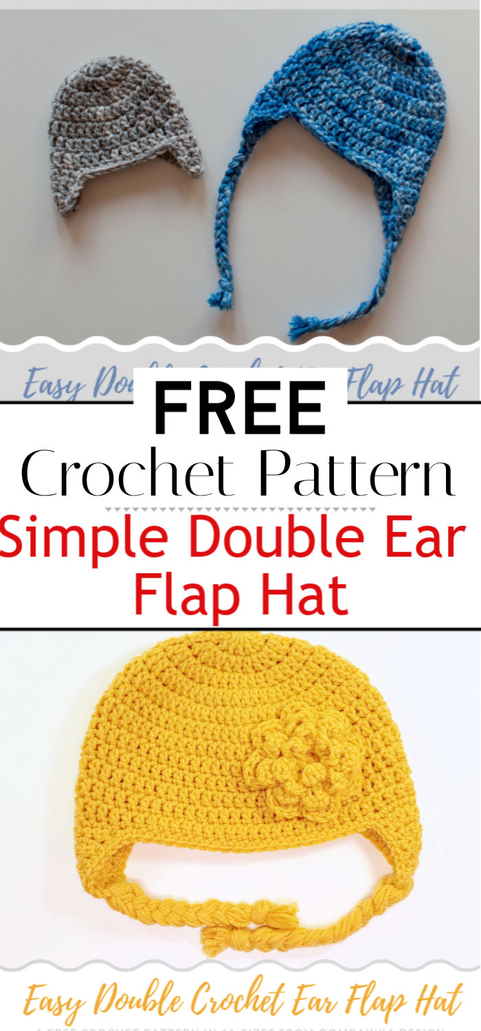Simple Double Crochet Ear Flap Hat Pattern
