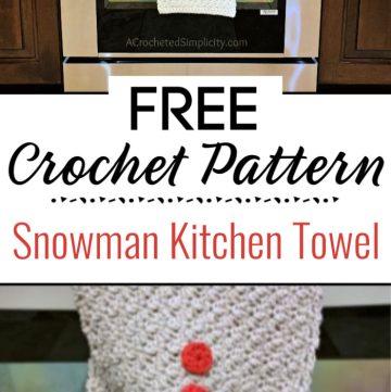 Snowman Kitchen Towel Free Crochet Towel Pattern