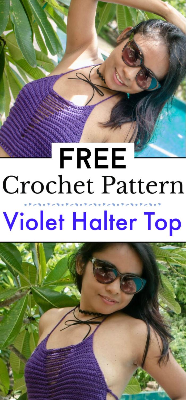 Violet Crochet Halter Top Free Pattern
