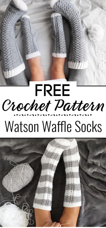 Watson Waffle Crochet Socks Free Pattern